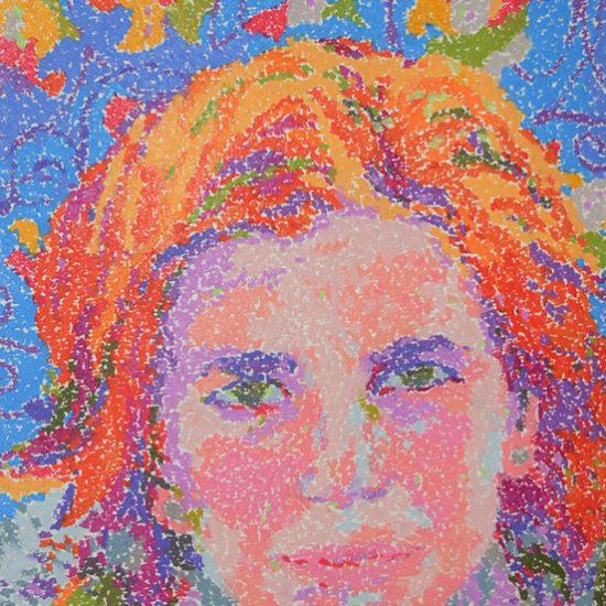 """Ninoska. Retrato de mi amiga Mari Ángeles. Obra perteneciente a la colección """"Mi gente"""". Cera sobre papel. (2016)"""