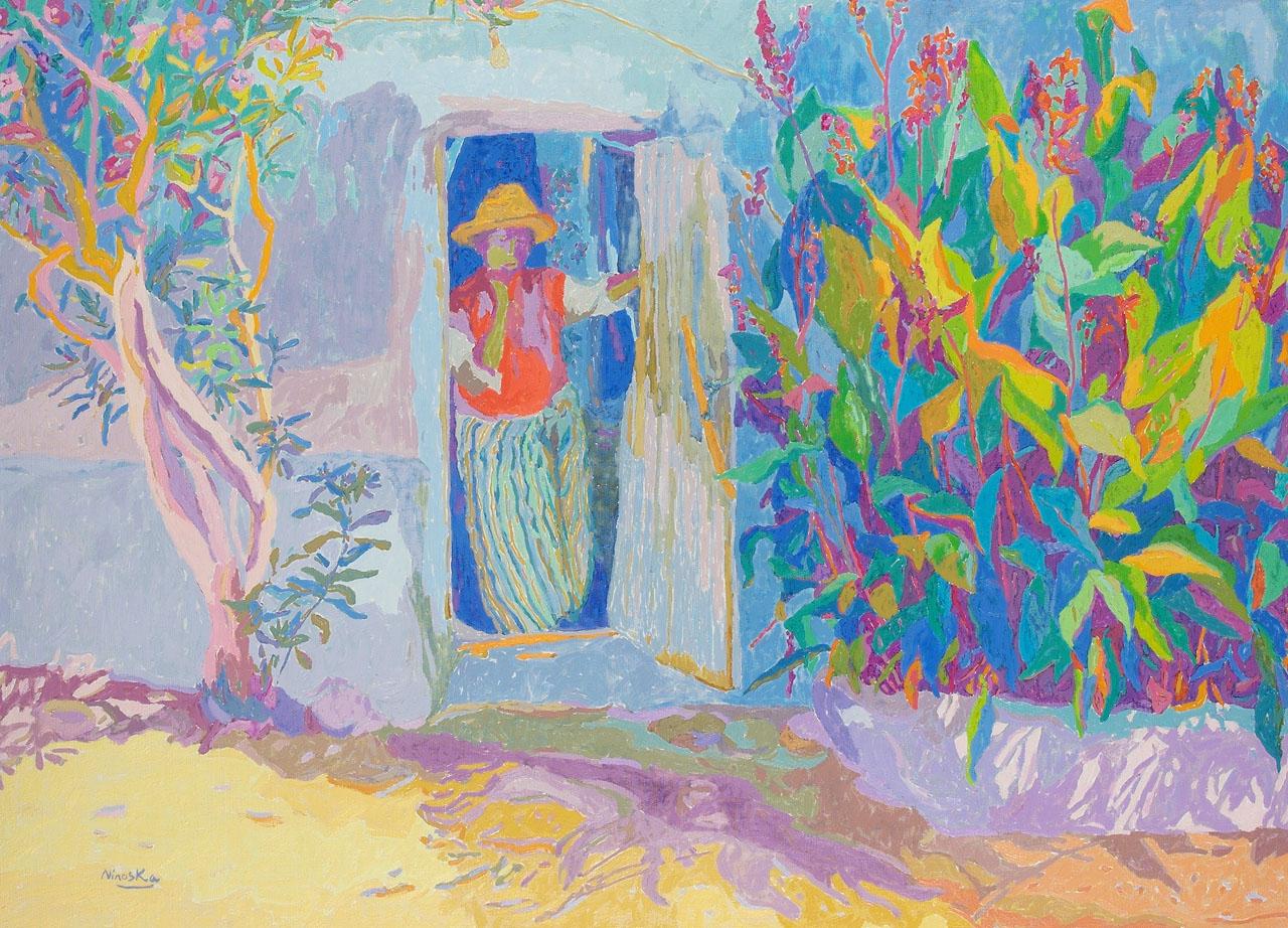 """Oleo """"Mujer en la puerta"""" – Marruecos –  Ninoska de Gracia"""
