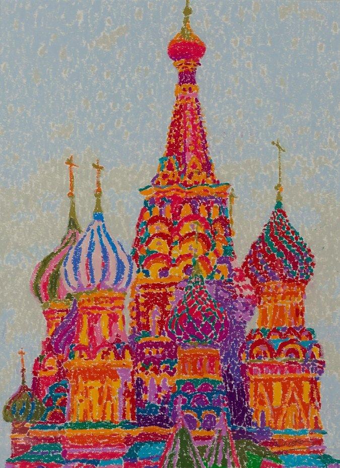 Ninoska de Gracia. Catedral de San Basilio. Moscú. Cera sobre papel. Galería Ansorena