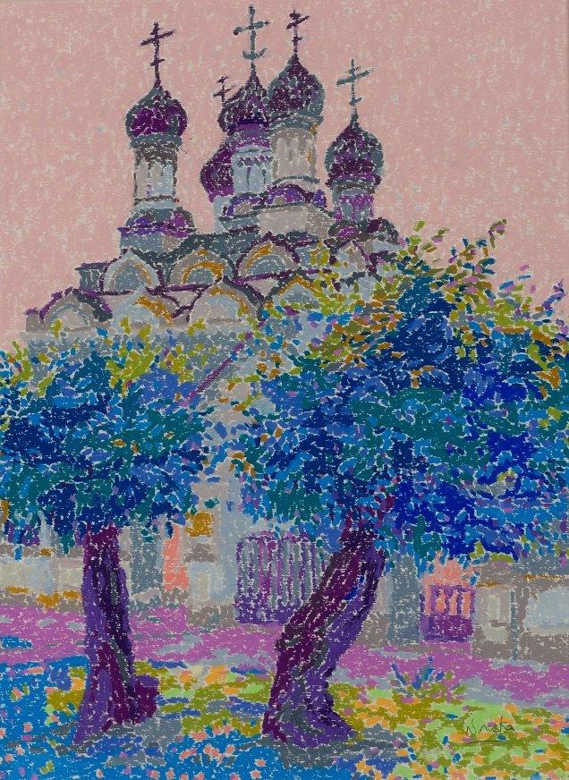 Ninoska de Gracia. Pequeña Iglesia Ortodoxa. Moscú. Cera sobre papel. Galería Ansorena