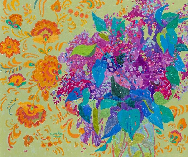 Ninoska. Cuadro de flores con estampado ruso. Rusia