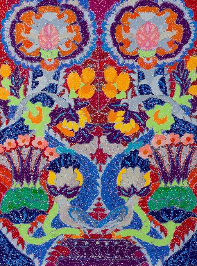 Ninoska. Vidriera del Metro de Moscú Roja. Cera sobre papel. Galería Ansorena de Madrid